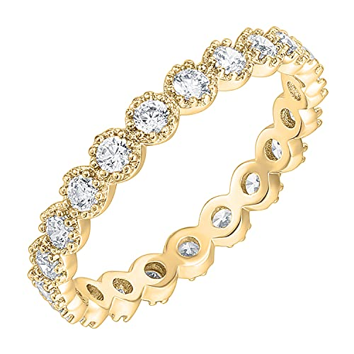 PAVOI 14K Yellow Gold Plated Rings Cubic Zirconia Band | Marquise Milgrain Eternity Bands | Yellow Gold Rings for Women Size 7