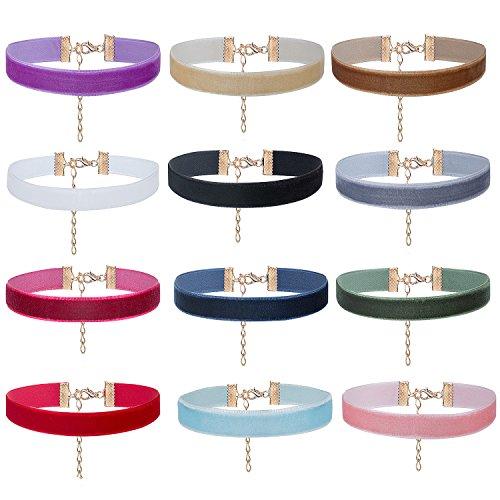 ZWOOS Choker Collares Terciopelo 12 Piezas Collares de Terciopelo de Gargantilla Conjunto de Collar de Cinta para Las Mujeres y Chicas, Ancho 10mm