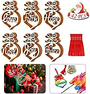 BIGPANDA 42 Pieces Christmas Wooden Ornaments Tree Hanging Tags Wooden Hollow Letter Decorations