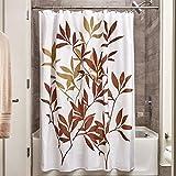 iDesign Leaves Duschvorhang | Designer Duschvorhang in der Größe 183,0 cm x 183,0 cm | schickes Duschvorhang Motiv mit Blättern | Polyester braun