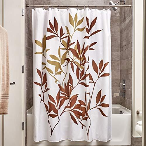 iDesign Leaves Duschvorhang   Designer Duschvorhang in der Größe 183,0 cm x 183,0 cm   schickes Duschvorhang Motiv mit Blättern   Polyester braun