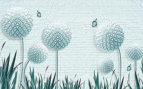 Orb Dandelion Flower Brick Wall Living Room Bedroom tudy Room Home Decor Background Wall Papers 3D Wallpaper Paste Living Room The Wall for Bedroom Mural-250cm×170cm