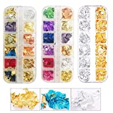 3 Packs Multi-Color Nail Foil Flakes Glitter Leaf Flakes Imitation Gold Metallic Foil Flakes for Painting...