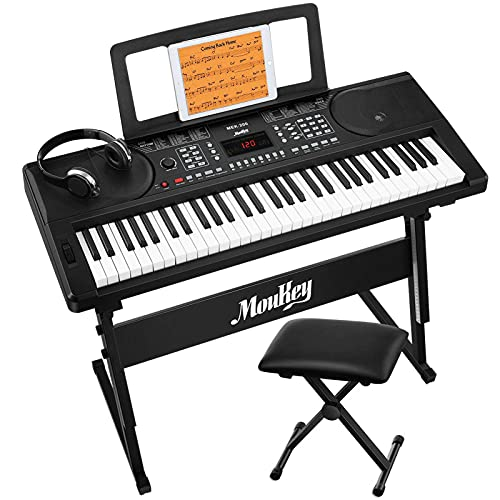 Moukey MEK-200 Electric Keyboard Portable Piano Keyboard Music Kit with Stand, Bench, Headphone, 61 Key Keyboard, Black