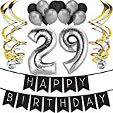 Sterling James Co. 29th Birthday Party Pack - Black & Silver Happy Birthday Bunting, Balloon, and Swirls Pack- Birthday Decorations - 29th Birthday Party Supplies