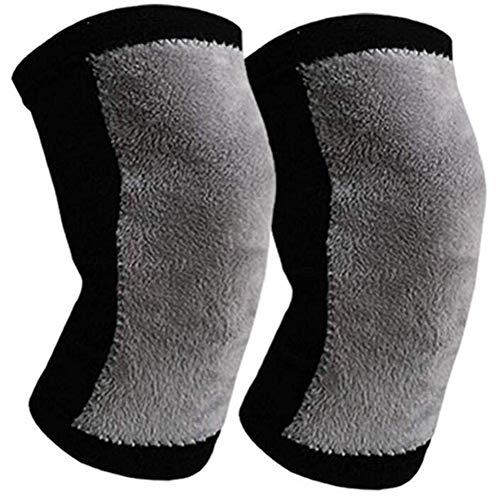 Cestbon Kniebandage Warmhalten Stretch Bambuskohle Kniestütze,Für Warme Kalte Beine Wintersport Samtigevierseitig Dehnbare 2 Paar,Schwarz