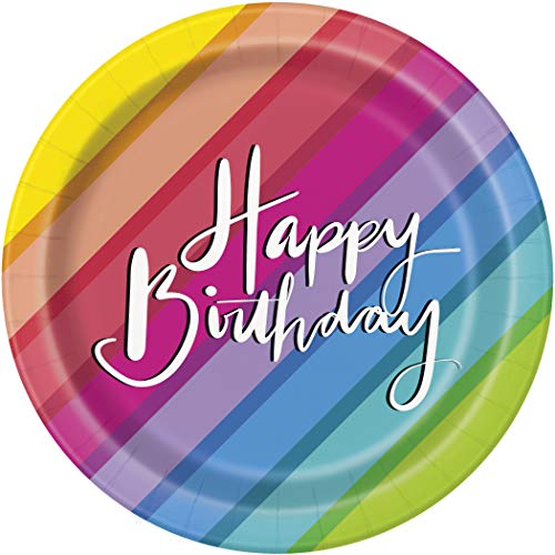 Unique Party 73124 - 18cm Balloons & Rainbow Birthday Paper Plates, Pack of 8