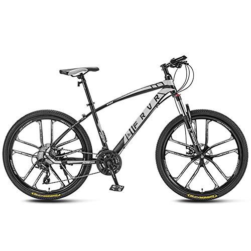 AP.DISHU Bicicletas De Montaña 27 Velocidades Doble Disco De Freno Mountain Trail Bike Suspensión Delantera Cabellera Dura Bicicleta De Montaña Bicicleta para Adultos Rueda De 27.5 Pulgadas,Blanco