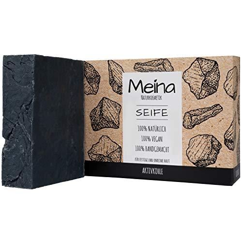 Meina Naturkosmetik - Schwarze Seife mit Aktivkohle (1 x 100 g) Palmölfrei, Natürlich, Vegan, Handgemacht, Bio Naturseife - Körperpflege und Gesichtspflege