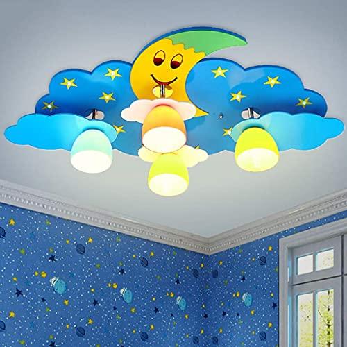 Lámpara de araña Decorada de Forma novedosa, lámpara Colgante de Hada con Luna y Estrellas Creativas, luz de Techo, decoración de Dormitorio para niños, Azul, luz Blanca