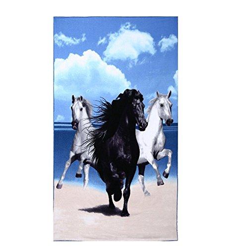 Strandtücher Groß Pferd Blau Bedruckt 100 x 180 cm Microfaser Badetuch für Erwachsene Damen Kinder Mädchen Ideal für Schwimmen Spa Reisen Yoga Sport Camping Sunbed Cover Bad oder Dusche zu Hause