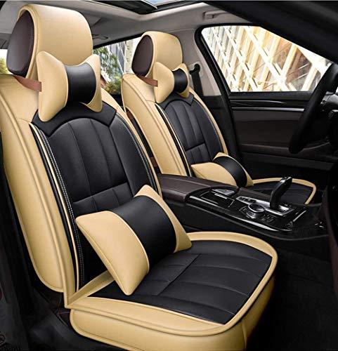 Lederen 5 zitplaatsen Volledige Set Auto Stoel Kussen, Antislip Suede Base Materiaal Auto Stoel Cover Dubbele Stof En Lederen Auto Stoel Beige