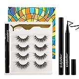Eyelashes with Eyeliner Glue, Calphdiar Upgrade Black Liquid Eyeliner, 3D Reusable Faux Mink Lashes 4 Pairs