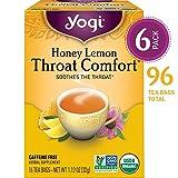 Yogi Tea - Honey Lemon Throat Comfort - Soothes the Throat - 6 Pack, 96 Tea Bags Total