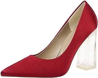 THE LONDON STORE Women's Block 10 cm High Heels Lady Scarpins Green Satin Pumps Female Red Yellow Blue Silk Transparent Shoes
