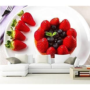 Customer reviews WH-PORP Custom 3D Murals,Sweet Cake Strawberry Blueberries Plate Food Wallpapers,Restaurant Kitchen Living Room-450cmX300cm-450cmX300cm:Eventmanager