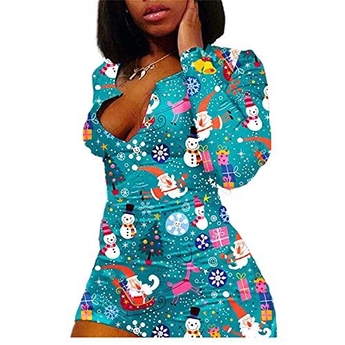 Madger Mujeres Sexy Deep V cuello pantalones cortos mono Navidad pijama botón manga larga una pieza bodycon mamelucos homewear pijamas, azul celeste, 4XL