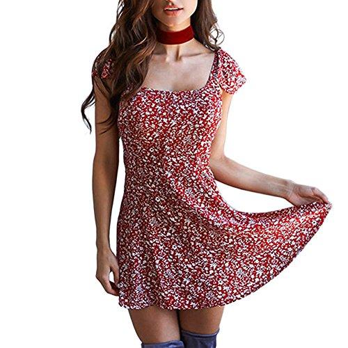pitashe Dam sexig miniklänning rygglös kortärmad fyrkantig krage tryck strandkläder klänning sommar en linje gunga kvinnlig solress flickor miniklänning