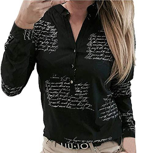 SHOBDW Mujeres V Cuello Blusa Pura Atractiva Grandes Suaves OL Ladies Sueltas Camisas de Bolsillo Tallas Tops Camisa de Manga Larga (M, Negro)