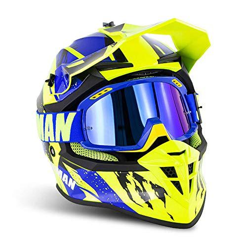 JAHJU Cascos De Motocross, Adultos Off Road Casco Motocross ECE Dh, para Carreras, Todoterreno, Motocicleta Scooter Unisex Gafas,Fluorescent Yellow c,M