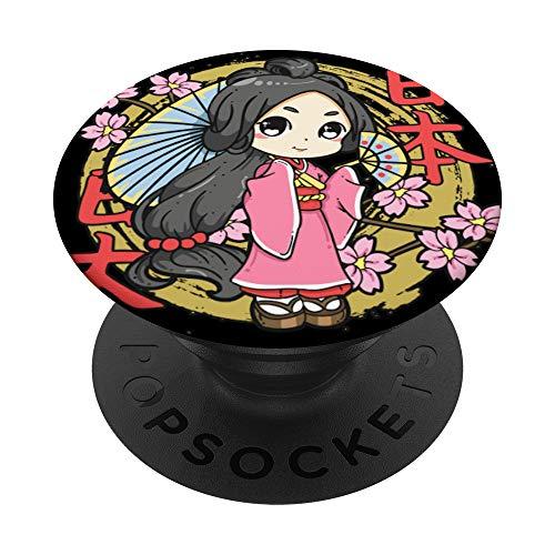 Linda Chibi Geisha Personaje de Animación Japonesa PopSockets PopGrip: Agarre intercambiable para Teléfonos y Tabletas