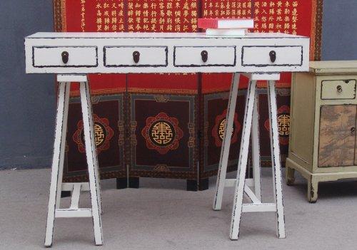 Luxury-Park China filigrane anrichte appendiabiti tavolo scrivania in legno di pino bianco antico