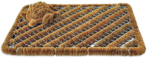 Coco Fiber Doormat with Mini Boot Scraper, 18 inch by 30 inch