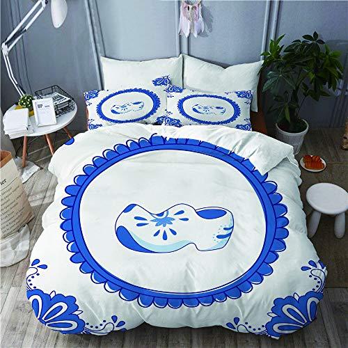 SUHOM Juego de Ropa de Cama con Funda de edredón, de Microfibra, azulejo Azul con un par de Zapatos típicos holandeses,con 2 Fundas de Almohada,140x200