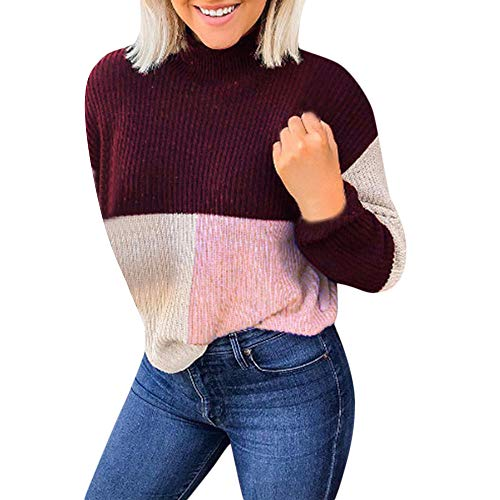 Zottom Frauen Casual Short Tri-Color Paneled Sweater Rollkragen Langarm-Pullover(Rot,Large)
