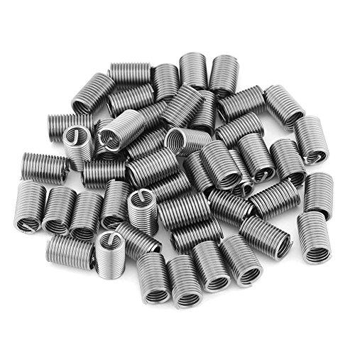 Gewindeeinsätze, 50 Stück Edelstahldrahtgewinde SS304 Spiraldrahtschraubengewindeeinsätze M6 x 1,0 x 3D Länge