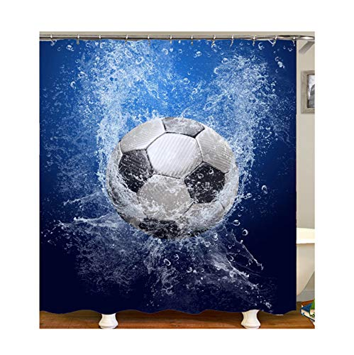 Coniea Duschvorhang Jalousie Cartoon-Fußball Duschvorhang Bunt Badewannenvorhang Anti-Schimmel 120X180Cm