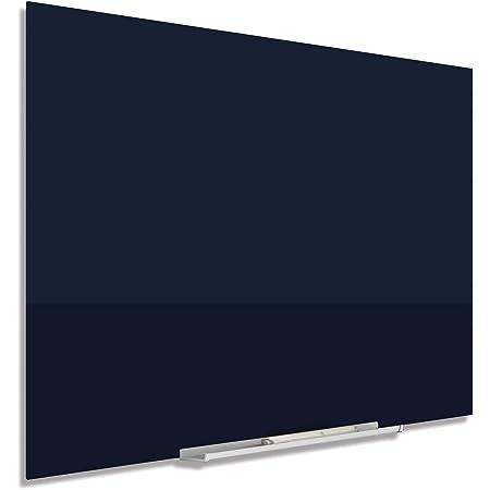 """Quartet Magnetic Whiteboard, Glass White Board, 74"""" x 42"""", Black Dry Erase Surface, Frameless, InvisaMount (G7442IMB)"""