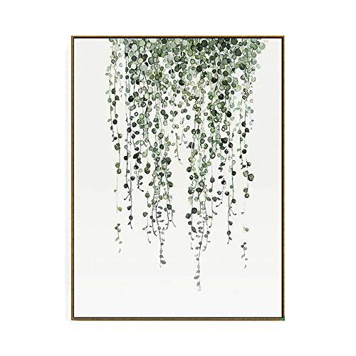 Décorations quotidiennes Plante Feuille Verte Peinture Murale Art Nordique Moderne Feuille Tropicale Peinture À L'huile Plante Feuille Verte Jardin Petit Frais Maison Chambre Salon Couloir Décorat