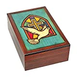 Stained Glass Church Window Cross with Dove Handmade Polish Keepsake Jewelry Box