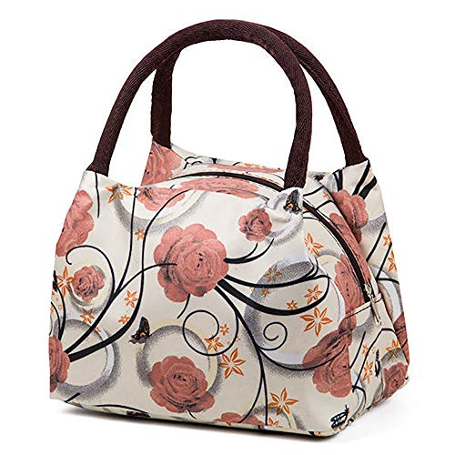 Lunch Bag for Women, Instant Lunch Bag, Large Tote Bag, Women and Men Office School Picnic-No Shoulder Straps, Light yellow background rose