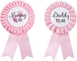 Daddy to be & Mom to be Tinplate Badge Pin - Baby Shower Button New Dad Gifts Gender Reveals Party Baby Girl Pink Rosette Button Baby Celebration (Light Pink)