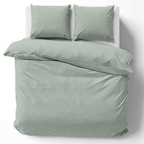 Melunda Renforcé biancheria da letto 240 x 220 cm solo copripiumino - 100% cotone con cerniera YKK - Strisce Verdi - certificato OEKO-TEX standard, contiene solo copripiumino