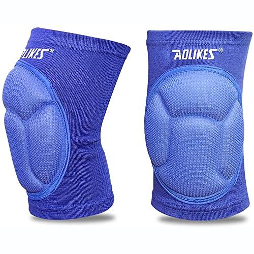 Maibu, ginocchiere in spessa spugna anti-collisione e antiscivolo, per pattinaggio, danza, pallavolo, 1 paio, Uomo, EXPSFD006007, Blue
