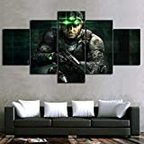 SNKENR Canvas Poster Home Decor 5 Panel Tom Clancy S Splinter Cell Sam Fisher Game Print Paintings Building Wall Art Modular PictureNo Framed20x35cm20x45cm20x55cm