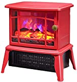 GJNVBDZSF Estufa de calefacción con Estufa de leña Estufa eléctrica portátil con luz LED Vintage...