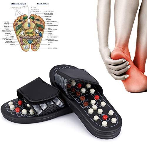 Dr.Lefran Akupressur Massage Hausschuhe, Fußreflexzonen Massagegerät, Therapie Massage Schuhe Kopfsteinpflaster Fußsohle Punkt Massage mit 41 Akupressurpunkten für Frauen und Männer,Schwarz,S