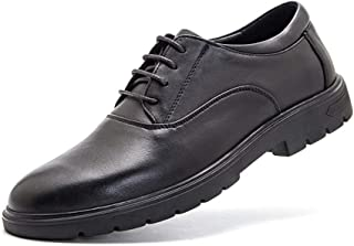 PengCheng Pang Classic Modern Business Oxfords for Men Dress Shoes Lace up Genuine Leather Round Toe Four Eyelets Thick-Bottom Lug Sole Anti-Slip (Color : Black, Size : 8.5 UK)