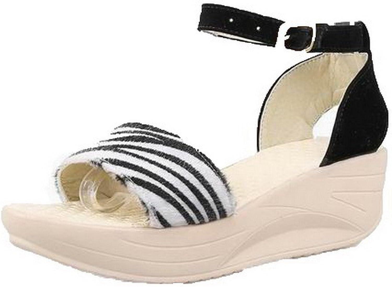 WeenFashion Women's Frosted Kitten-Heels Buckle Open-Toe Sandals, CA18LA05146