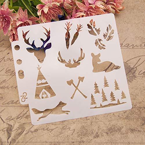 ECMQS - Plantillas de decoración navideña para Pintar, Lavable, Plantilla de Hueco Reutilizable para Pintar...