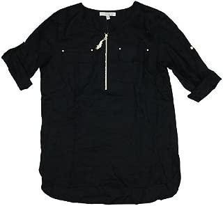 Ellen Tracy Womens Roll Cuff Sleeve 1/4 Zip Top Shirt