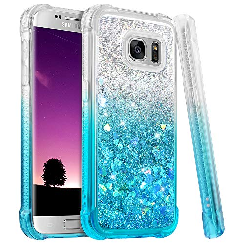 Ruky Galaxy S7 Case, Gradient Quicksand Series Glitter Bling Flowing Liquid Floating Soft TPU Bumper Cushion Protective Women Girls Cute Case for Samsung Galaxy S7 (Gradient Teal)