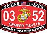 Magnet Antitank Assault Guided Missileman Marine Corps MOS 0352 USMC US Marine Corps Military Car Bumper Magnet Sticker Magnetic Vinyl Decal 3.8'