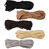 5 Colors Suede Cord Faux Leather Cord String Rope Thread for Bracelet Necklace Beading Jewelry DIY Crafts, 11 Yards of Each Color