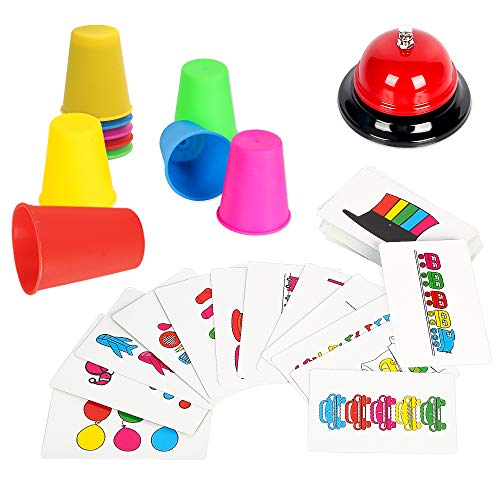 Youwo Quick Cups Games Beat The Bell Speed Cups Game Match Stack Family Game for Kids Age 3 and up with 54 Picture Cards 20 Stack Cups and a Bell