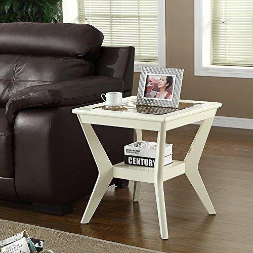 FEI Canapé Table d'Appoint Petite Table Basse En Bois Massif Trempé Salon 58 * 58 * 62CM. (Couleur : Milky)